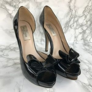 Valentino Women Heels Black Patent Leather Bow 40